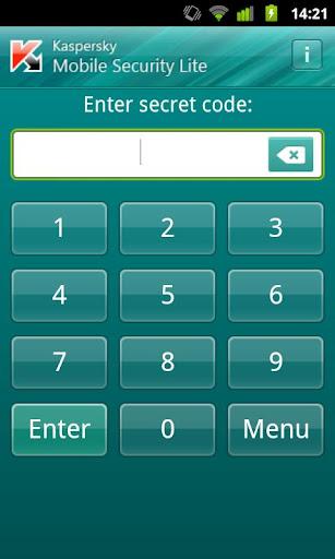 kaspersky mobile security lite-pantalla de acceso con password