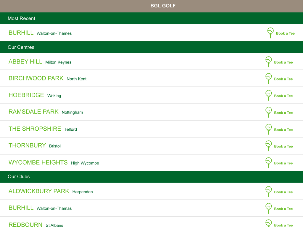 BGL Golf App- screenshot