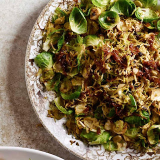 Shaved Brussels Sprouts with Caramelized Shallots and Currants