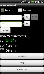 Anesthesia CALC screenshot for Android