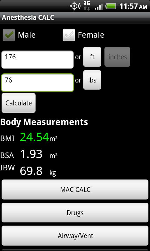 Anesthesia CALC - screenshot
