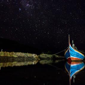 Payangan To Night by Vj Lie - Landscapes Waterscapes ( reflection, payangan, landscape, vj lie, boat, night shot )