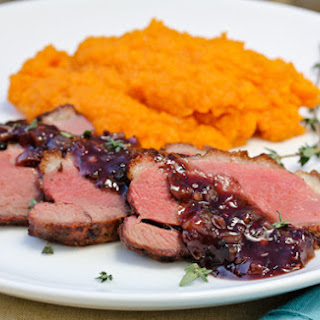 Seared Duck Breast with Blackberry Pan Sauce.