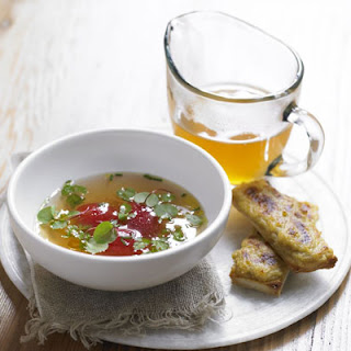 Tomato consommé with Lancashire cheese on toast.