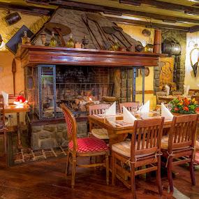Fireplace by Ivica Bajčić - Buildings & Architecture Other Interior ( rijeka, tarsa, food, designe, croatia, table, fireplace, restaurant )