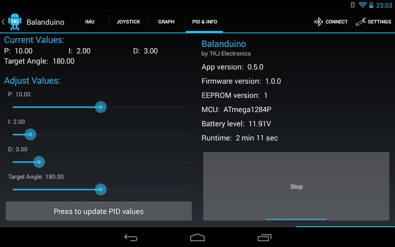 Balanduino Android App- screenshot