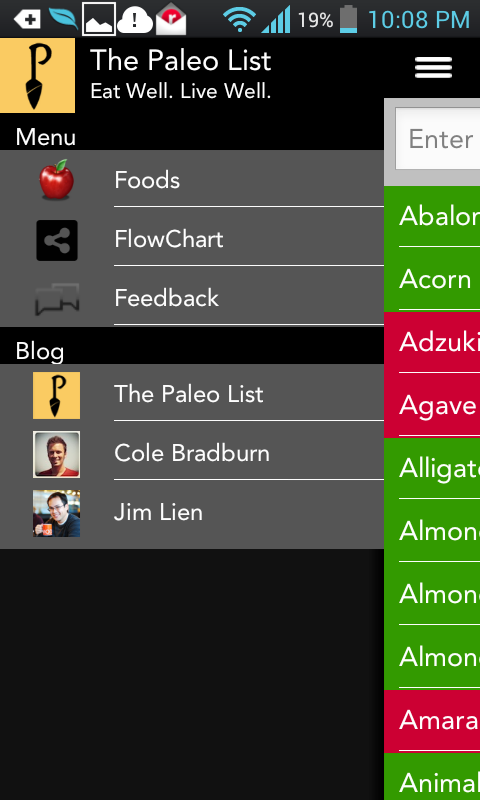 The Paleo List- screenshot