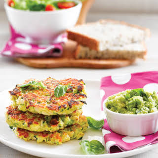 Chicken And Courgette Fritters With Avo Dip.