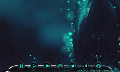 Next Launcher Theme Alien Cyan