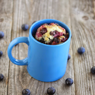 Blueberry Muffin With Streusel Topping Mug Cake.
