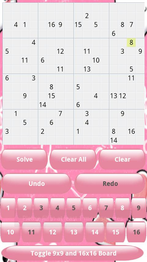 Sudoku Solver Game 9x9 16x16- screenshot