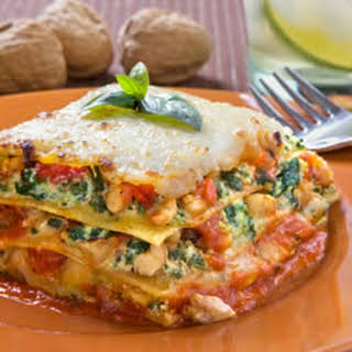 Spinach Lasagna with Walnut Pesto.