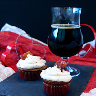 Maple Stout Cupcakes with Candied Cayenne Bacon.