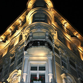 Grandhotel Pupp by Brenda Hooper - Buildings & Architecture Architectural Detail ( grandhotel pupp, karlovy vary, czech republic, windows, night, architecture, hotel,  )