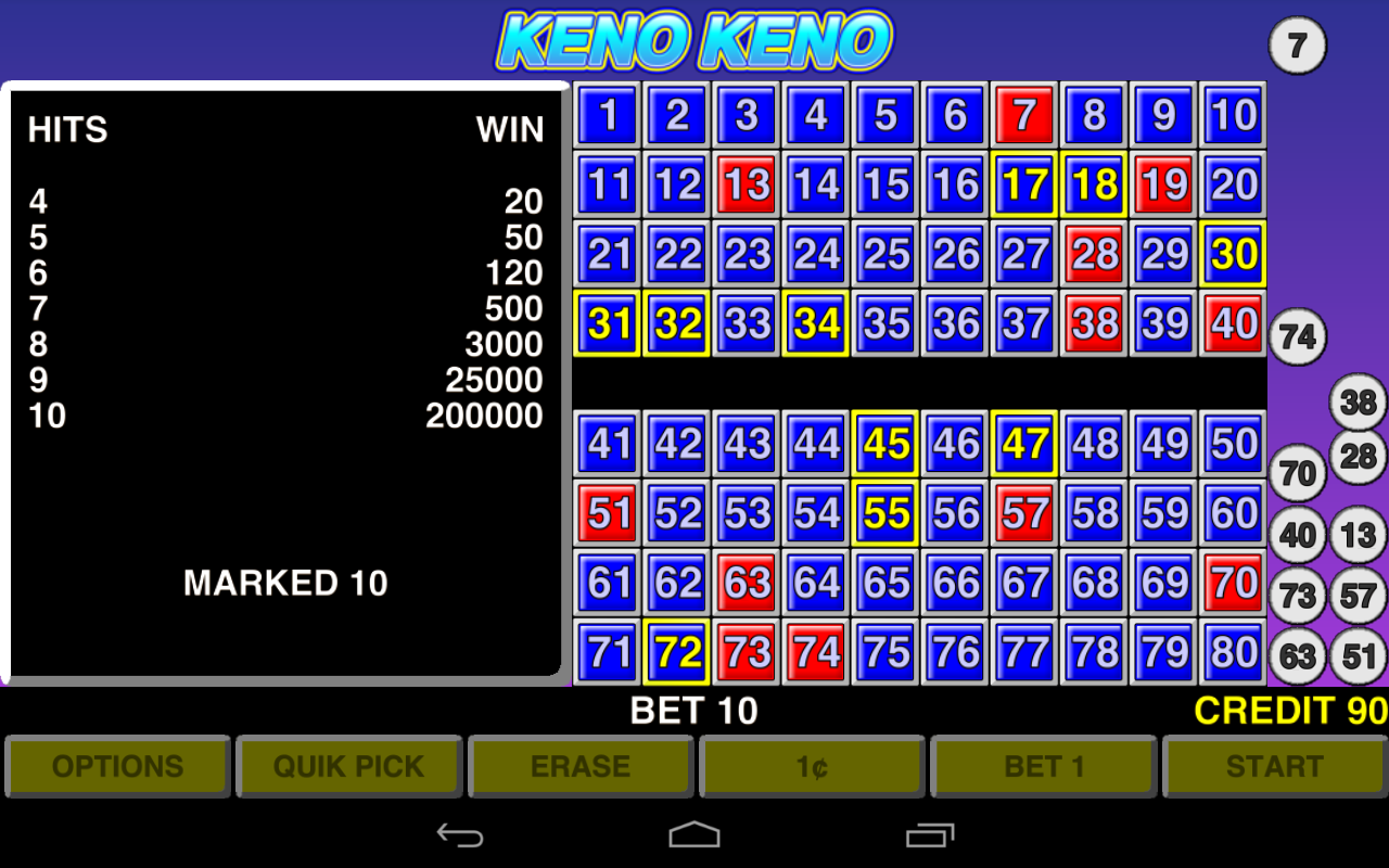 Multi chance keno keno plus how to play object of game winning numbers - Keno Keno Las Vegas Casino Screenshot