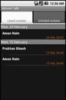 Screenshot of Missed Calls