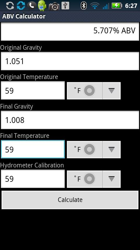 ABV Calculator- screenshot