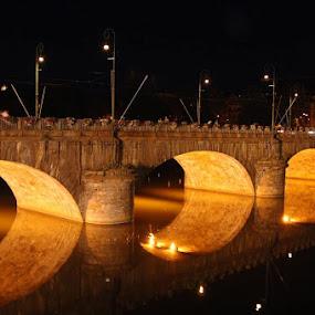 Torino - Italy by Tasos Triantafyllou - City,  Street & Park  Night ( night, bridge, italy, nightscape,  )