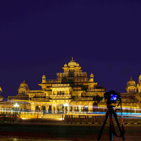 Albert Hall by Ashish Garg - Buildings & Architecture Statues & Monuments ( historical place, monuments, light trail, india, albert hall, , purple, yellow, color )