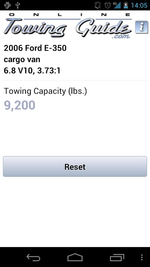 Towing Capacities App- screenshot