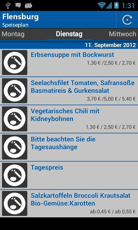 Mensa Flensburg - screenshot