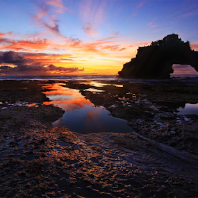 Splendid Sky by Kadek Jaya - Landscapes Sunsets & Sunrises ( reflection, sky, sunset, silhouette, rock )