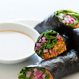 Raw Vegetable Nori Rolls or Wraps with Sunflower Seed Butter Dipping Sauce (Raw, Vegan, Grain-Free, Paleo).