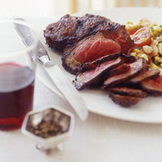 Sliced Spice Steak and Succotash Salad.