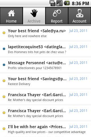 SpamDrain - email spam filter - screenshot