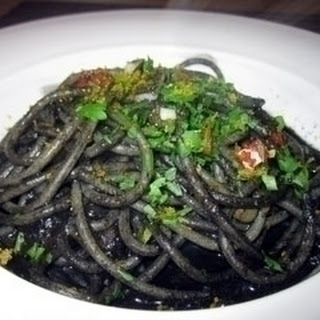 Spaghetti With Cuttlefish Ink, Red Chilli And Bottarga