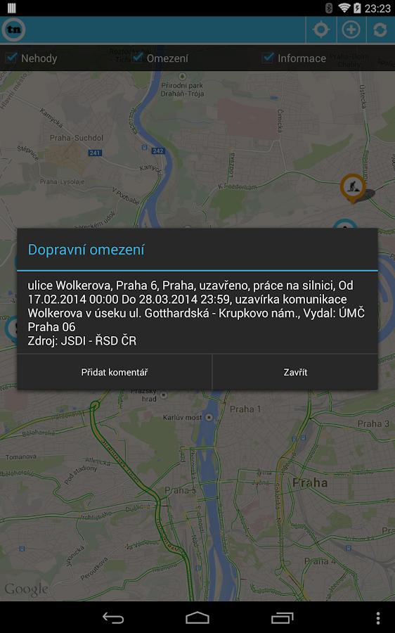 Dopravní informace tudyNE Free - screenshot