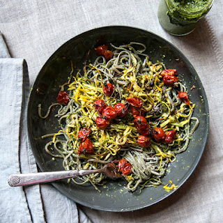 Soba Noodles With Roasted Zucchini, Cherry Tomatoes + Swiss Chard Pesto.