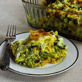 Vegetarian Curried Brown Rice and Broccoli Casserole with Creamy Curry Sauce.