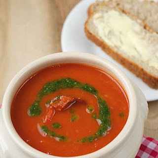 Tomato, Red Kidney Beans and Chorizo Soup with Parsley Oil.