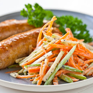 Chicken Sausage with Apple Slaw.