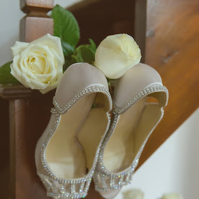 Bride is getting ready  by Sotiris  Filippou - Wedding Details ( fashion, fairy, shining, cute, husband, ready, pretty, romance, together, fantasy, love, girl, nature, feminine, flowers, shoe, light, shoes, icon, symbol, greece, beautiful, heel, white, marriage, luxury, two, rose, princess, bridal, wife, wedding, background, celebration, high, success, floral, engagement )