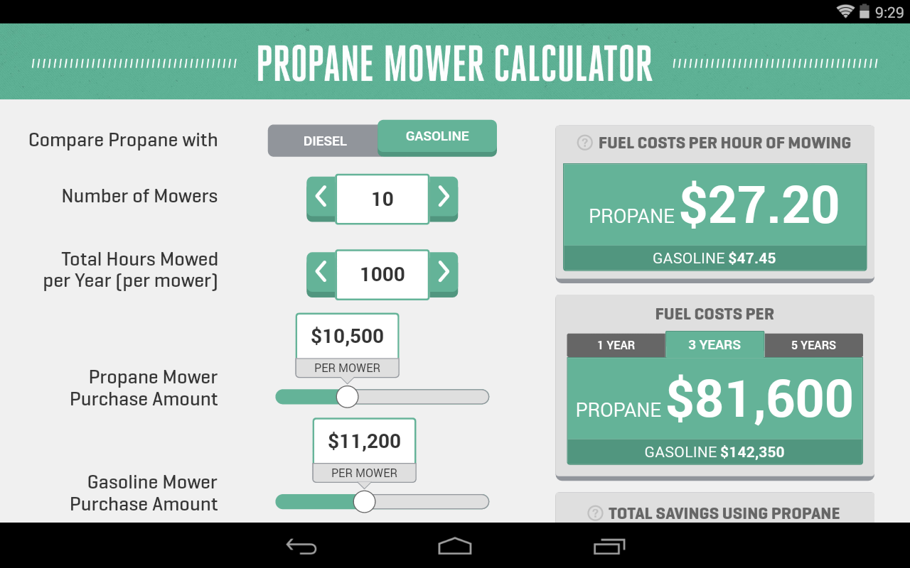 Propane Mower Calculator- screenshot