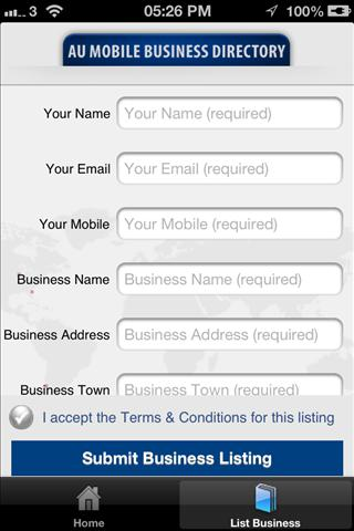 AU Mobile Business Directory- screenshot