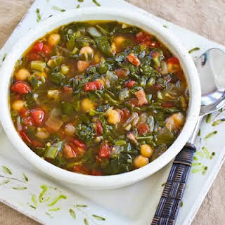 Chard and Chickpea Soup with Sausage and Green Pepper.