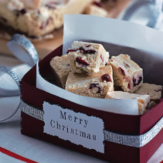 White Chocolate And Cranberry Fudge.
