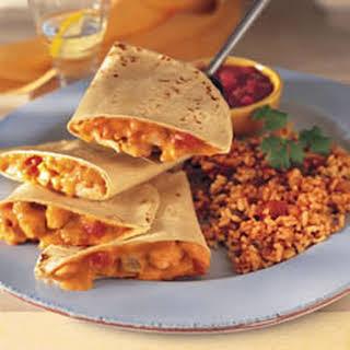Chicken Quesadillas and Fiesta Rice.