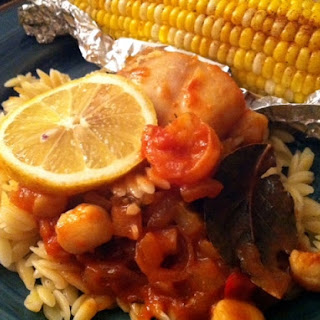 Seafood Creole Orzo Risotto With Elote Corn.