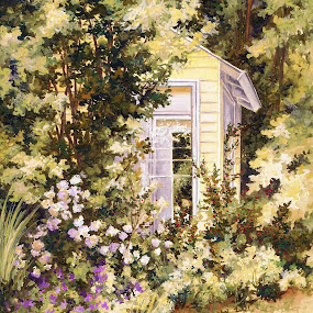 The Potting Shed by Jennifer Wheatley-Wolf - Painting All Painting ( watercolor, jennifer wheatley-wolf, purple, potting shed, yellow, garden )