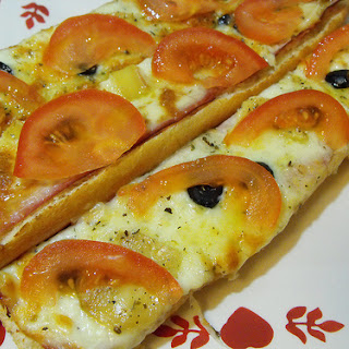 French Baguette with Three Cheeses.