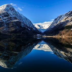 Mirrored mountains by Sondre Gunleiksrud - Landscapes Mountains & Hills ( glacier, mirrored reflections, mountains, winter, mountain, waterscape, sunny, snow, landscape, norway,  )