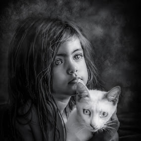 B and W Cat girl by Nathalie Gemy - Black & White Portraits & People ( portraiture, girl child, child, black and white, kid and cat, adorable, cute, white cat )