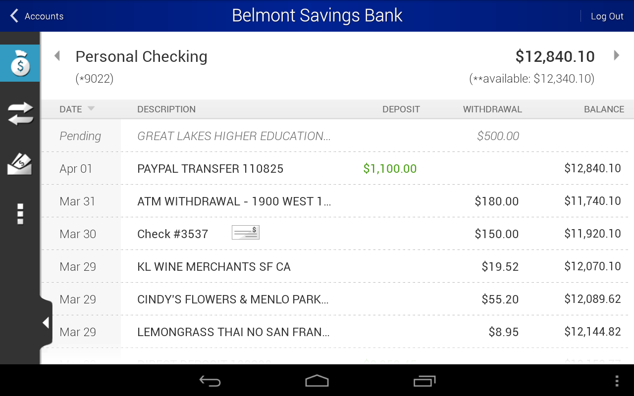Belmont Savings Bank - screenshot