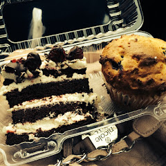 Black Forest cake ( absolutely amazing!) and a blueberry muffin