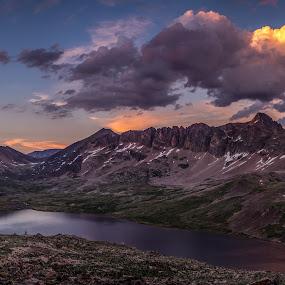 Goose Lake by Veronika Kovacova - Landscapes Sunsets & Sunrises ( backpacking, clouds, mountains, beartooth, montana, sunset, summer, lake, hike,  )