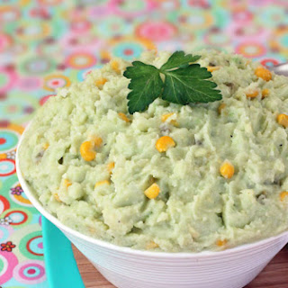 Cheddar Mashed Potatoes with Corn & Avocado.